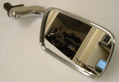 Bar end mirror, classic style chrome