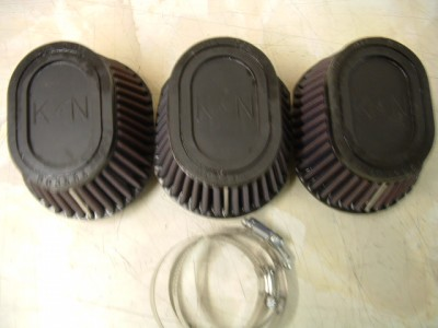 Seperate K & N air filters to fit 3 cylinder models (Mikuni carburettor)