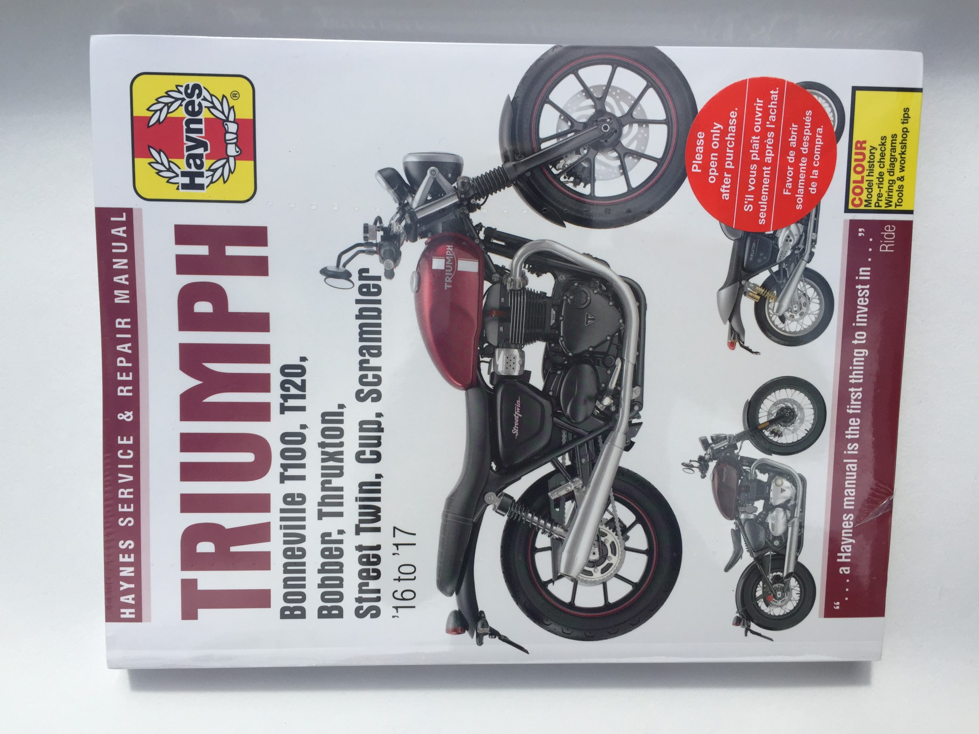 Haynes Repair Manual Bonneville Water Cooled T100 T120 Bobber Wiring Diagram Street Twin Triumph All Parts Stocked Sprint Manufacturing Ltd