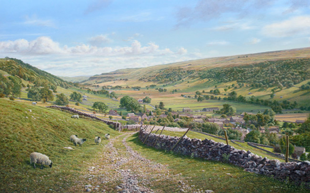 Starbotton from the Walden Track, Yorkshire Dales. Painting- Keith Melling