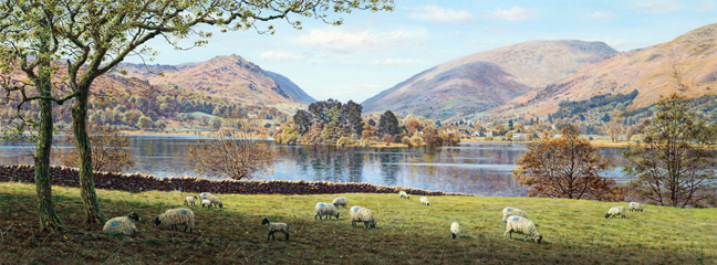 Grasmere from Dale End, Lake District. Painting by Keith Melling