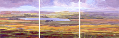 Malham Tarn from Nappa Cross, Yorkshire Dales. Painting Keith Melling