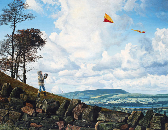 Kite Flying. Pendle Hill from Knotts Lane, Colne, Lancashire. Keith Melling