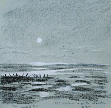 Hazy sunshine, Lenibrick Point. Sketch by Keith Melling
