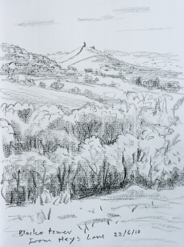 Blacko Tower from Heys Lane, Roughlee, Lancashire. Sketch: Keith Melling