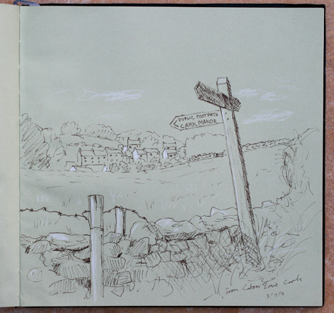 Cark in Cartmel, Cumbria. The new signpost on Caton Lane. Sketch: Keith Melling
