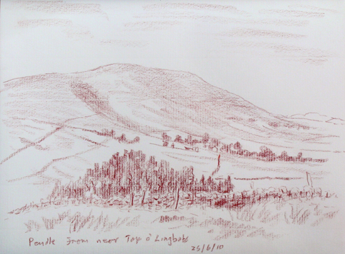Pendle Hill from near Top o' Lingbobs. Lancashire. Sketch: Keith Melling