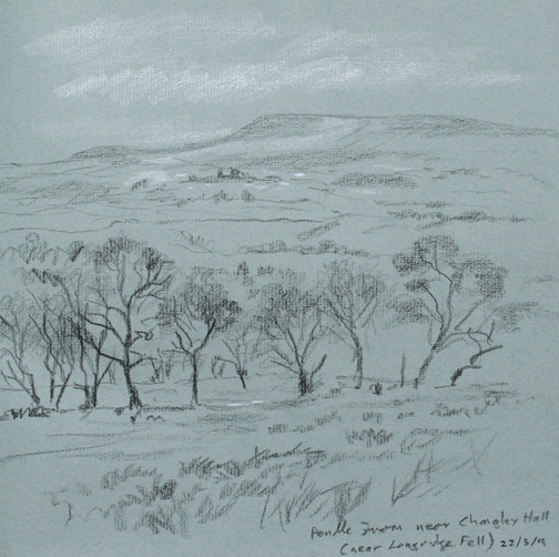 Pendle Hill from near Chaigley Hall. Sketch by Keith Melling
