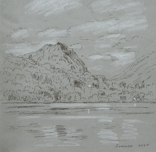 Grasmere and Helm Crag - sketch. Keith Melling
