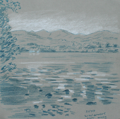 Windermere from near Wray - sketch. Keith Melling