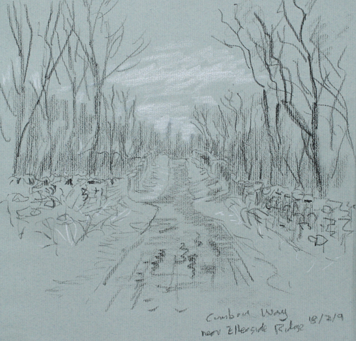 On the Cumbria Way, Ellerside Ridge - sketch. Keith Melling