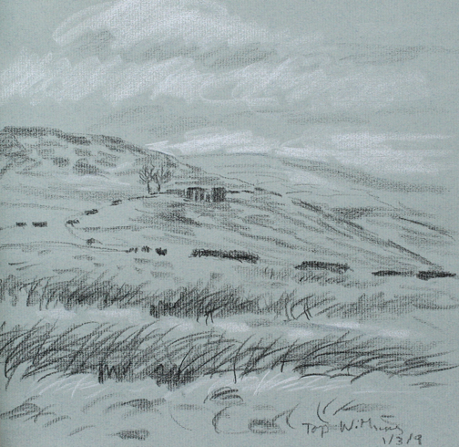 On the Pennine Way looking to Top Withens - sketch. Keith Melling