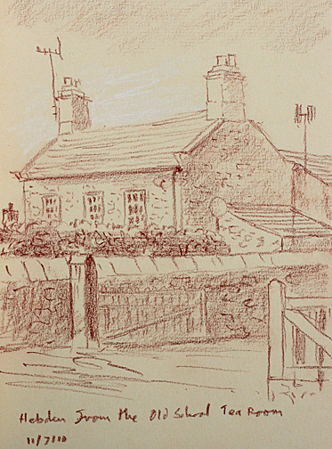 Hebden from the Old School Tea Room. Sketch- Keith Melling