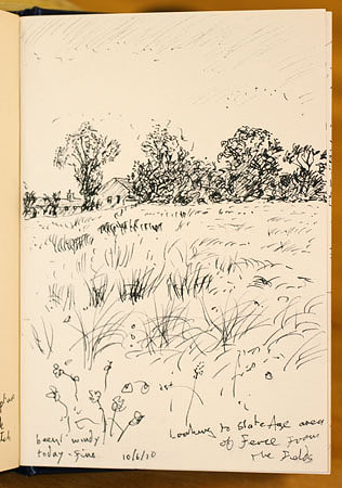 Fields, Fence. Sketch - Keith Melling