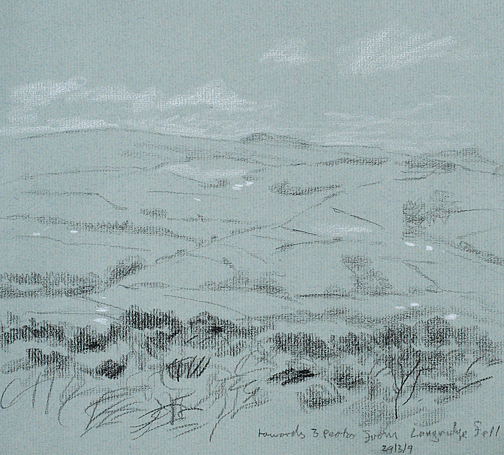 View to the Three Peaks from Longridge Fell. Sketch - keith Melling