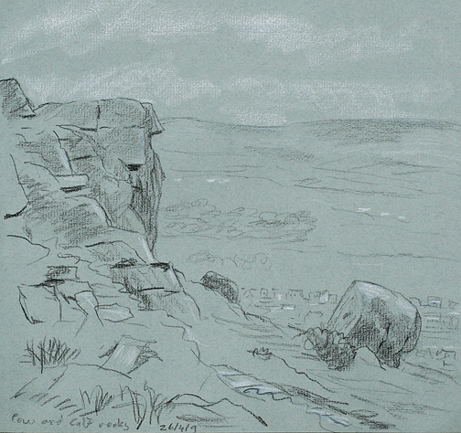 Cow and calf Rocks, Ilkley. Sketch - Keith Melling