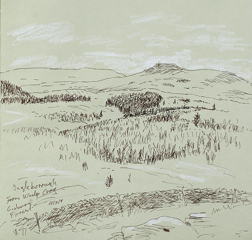 View from Whelp Crag, Gisburn Forest, to distant Ingleborough. Sketch Keith Melling