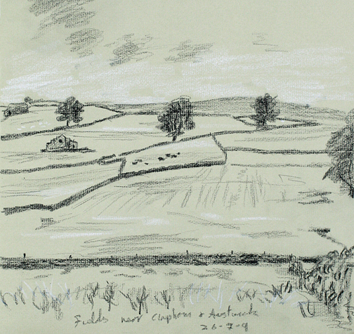Fields between Austwick and Clapham, dull day. Sketch - Keith Melling