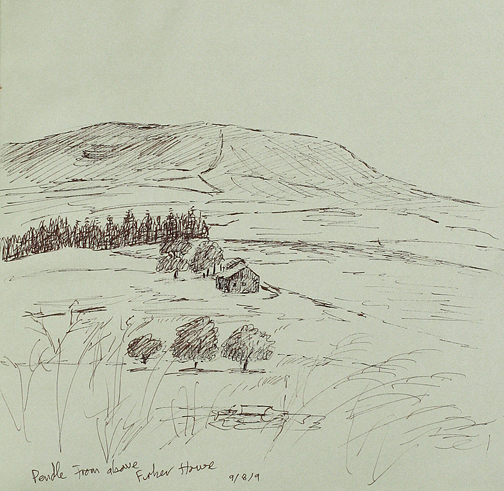 Pendle from above Firber House. Sketch - Keith Melling