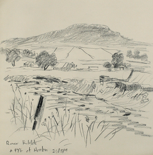 Penyghent from the Ribble at Horton. Sketch - Keith Melling