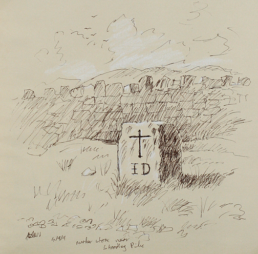 boundary stone nr Stoodley Pike. Sketch - Keith Melling
