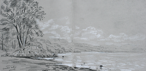 Coniston Water from Brown Howe. Sketch- Keith Melling
