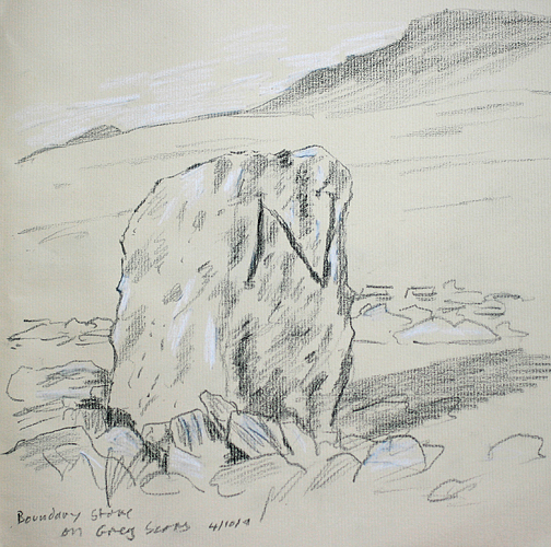Boundary stone on Grey Scars, Ingleborough in background. Sketch- Keith Melling