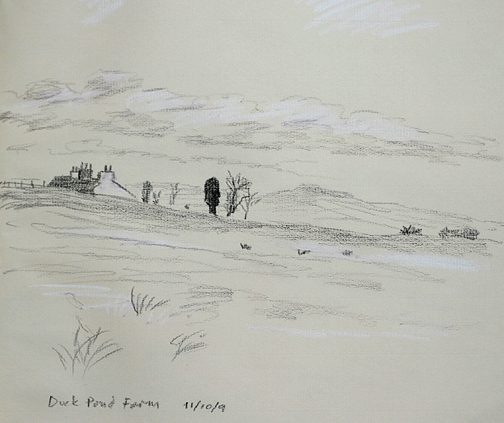 Near Duck Pond Farm, Barnoldswick. The huge sculptered head prominent. Sketch- Keith Melling
