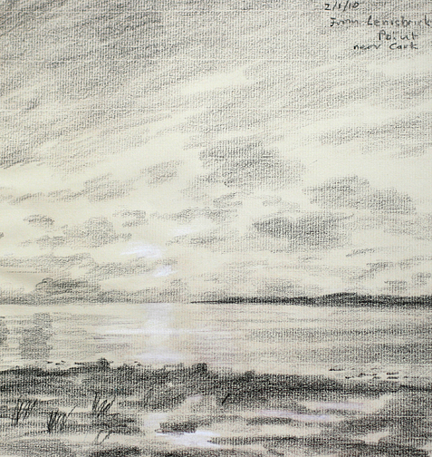 Across Morecambe Bay from Lenibrick Point. Dull day.Sketch-Keith Melling
