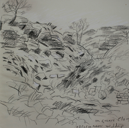 In Greave Clough, near Widdop and Walshaw Dean. Sketch Keith Melling
