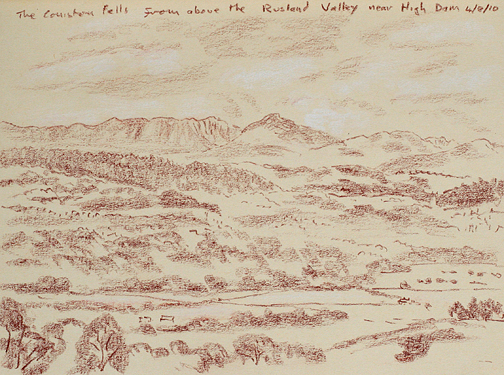 Coniston Fells from above the Rusland Valley near High Dam. Sketch- Keith Melling