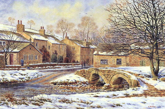 Winter Wycoller - Lancashire. Painting by Keith Melling