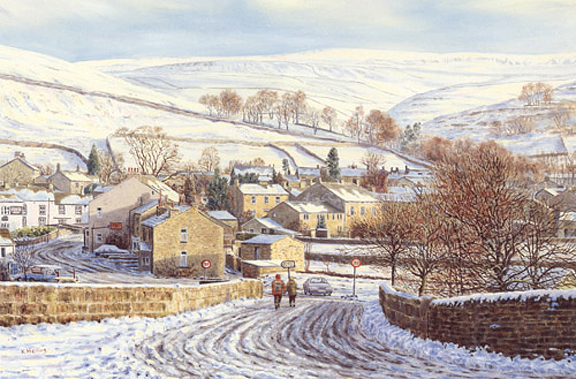 A Dales Winter, Kettlewell - Yorkshire. Painting by Keith Melling