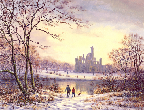 The River Aire at Kirkstall Abbey, Yorkshire. Painting by Keith Melling