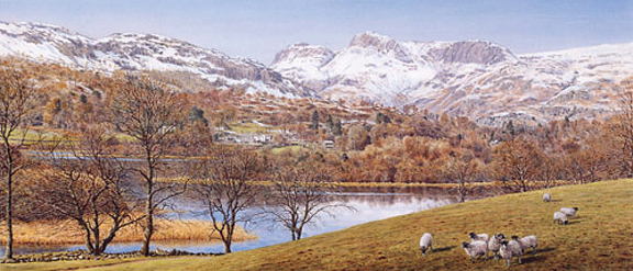 Langdale Pikes from Elterwater, Lake District. Painting by Keith Melling