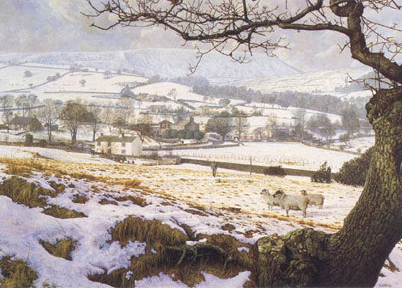 Pendleside in Winter - Lancashire. Painting by Keith Melling