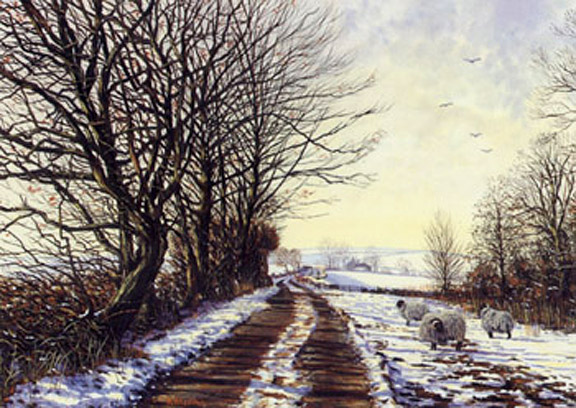 Winter Trees - Lancashire. Painting by Keith Melling
