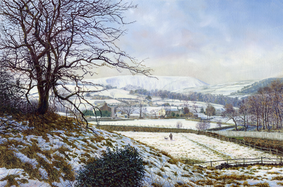 Winter Landscape, Roughlee  -  Pendle Hill, Lancashire. Painting by Keith Melling