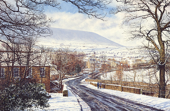 Sun and Snow, Barley  -  Pendle Hill, Lancashire. Painting by Keith Melling
