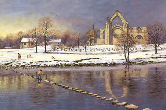 The Stepping Stones at Bolton Abbey - Yorkshire Dales. Painting by Keith Melling