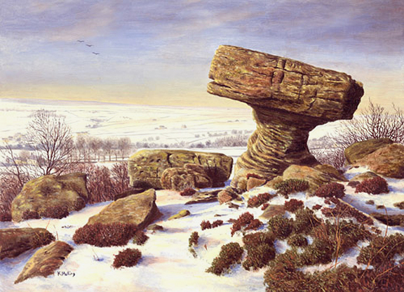 Brimham Rocks. painting by Keith Melling