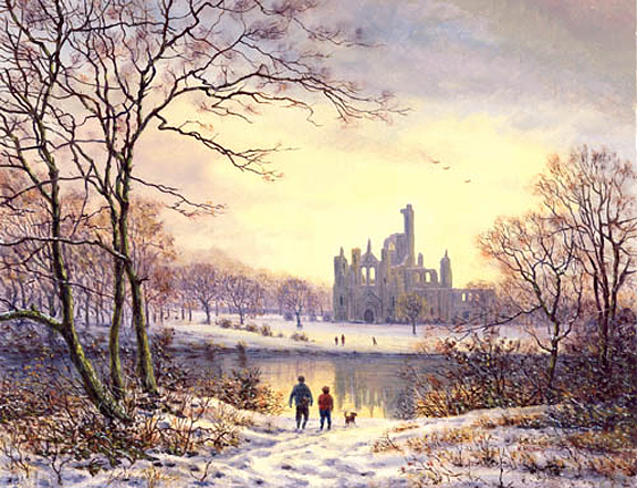 The River Aire at Kirkstall Abbey  -  Yorkshire. Painting by Keith Melling