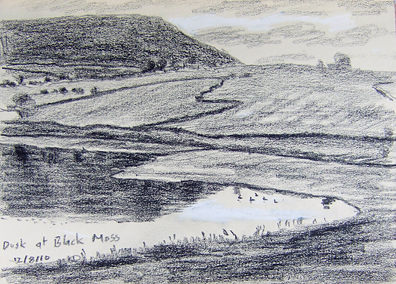 Dusk at Lower Black Moss Res. Sketch- Keith Melling