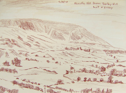 Pendle from Barley Hill. Sketch- Keith Melling
