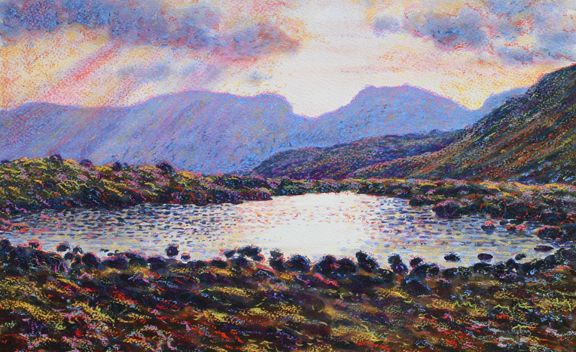 Scafells from three tarns -  Lake District. Painting - Keith Melling