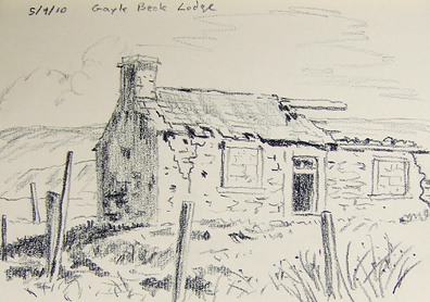 Gayle Beck Lodge on the Blea Moor Road, Yorkshire Dales. Sketch - Keith Melling.