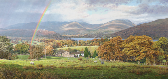 Sunshine and Showers Windermere, Lake District. Painting : Keith Melling