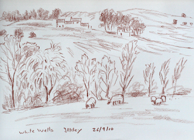 Looking to White Wells, Ilkley, Yorkshire. Sketch: Keith Melling