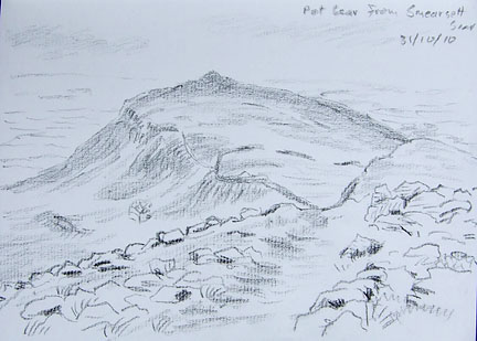Pot Scar from Smearsett Scar, near Feizor. Yorkshire Dales. Sketch - Keith Melling