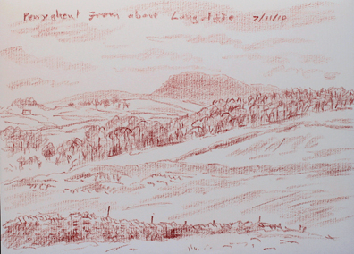 Pen-y-ghent from above Langcliffe. Yorkshire Dales. Sketch- Keith Melling